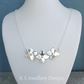 Shiny Flower Trio Sterling Silver Necklace - Metalwork Floral Flowers Jewellery