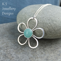 Amazonite Daisy - Sterling Silver Wire Flower Pendant - Gemstone Metalwork