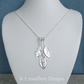 Dappled Petal Trio Sterling Silver Necklace - Three Petals - Floral Jewellery