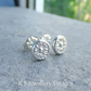 Sterling Silver Stud Earrings - FLOWER TEXTURED PEBBLES V4 - Organic Studs
