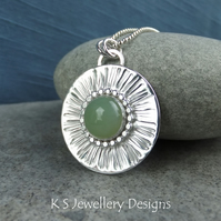 Amazonite Stripe Textured Sterling Silver Circle Pendant - Hand Stamped Necklace
