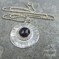 Amethyst Stripe Textured Sterling Silver Circle Pendant - Hand Stamped Necklace