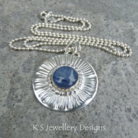 Kyanite Stripe Textured Sterling Silver Circle Pendant - Hand Stamped Necklace