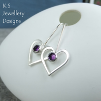 Amethyst Long Wire Heart Sterling Silver Earrings - Gemstone Hearts - Wirework