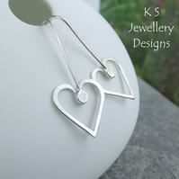 Long Wire Heart Sterling Silver Earrings - Shiny Hearts - Wirework Metalwork