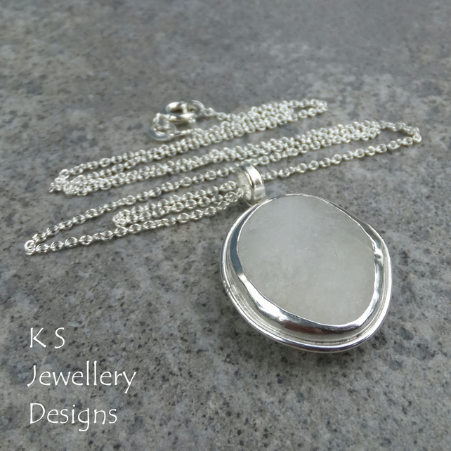 White Pebble Sterling Silver Pendant - Handmade Metalwork Pebbles Jewellery
