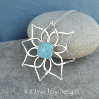 Blue Chalcedony Double Petal Flower Sterling Silver Pendant - Gemstone Metalwork