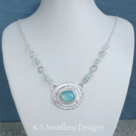 Blue Chalcedony Stripe Texture & Blue Topaz Sterling & Fine Silver Necklace