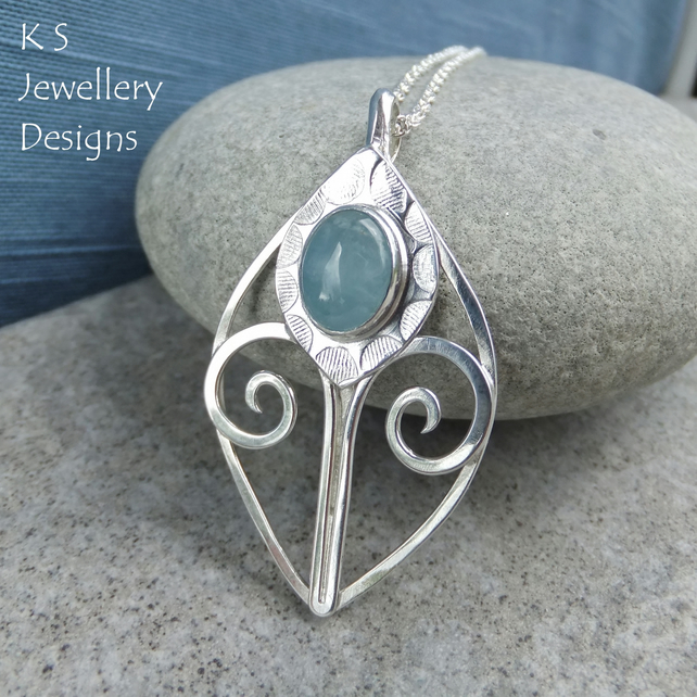 Aquamarine Sterling Silver Flower Bud Pendant - Thistle - Gemstone Floral Leaf