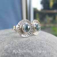 Sky Blue Topaz Daisy Flower Cup Sterling Silver Stud Earrings - Daisies Studs