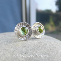Peridot Daisy Flower Cup Sterling Silver Stud Earrings - Daisies Discs Studs