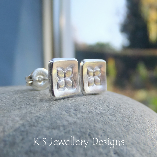 Sterling Silver Stud Earrings - Flower Squares Studs 2 - Shiny Four Petals