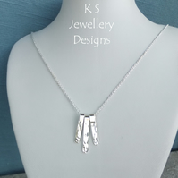 Dappled Textured Bars Sterling Silver Necklace - Handstamped Metalwork Jewellery