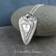 Layered Hearts V3 Sterling Silver Pendant - Hand Stamped Love Heart Metalwork