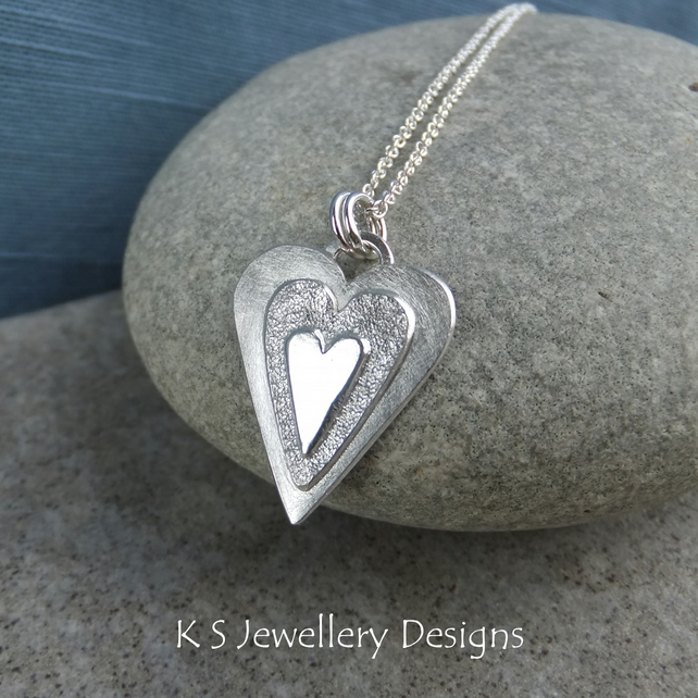 Layerd Hearts V2 Sterling Silver Pendant - Hand Stamped Love Heart Metalwork