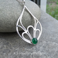 Green Agate Petal Trio Drop Sterling Silver Pendant - Gemstone Necklace