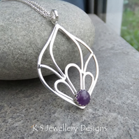 Amethyst Petal Trio Drop Sterling Silver Pendant - Gemstone Necklace