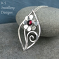 Garnet Flower and Swirls Sterling Silver Leaf Pendant - Gemstone Daisy Necklace