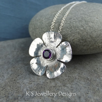 Amethyst Textured Flower Sterling Silver Pendant - Five Petals Gemstone Blossom