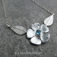 Blue Topaz Flower and Leaves Sterling Silver Necklace - Gemstone Blossom Floral