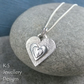 Layerd Hearts V4 Sterling Silver Pendant - Hand Stamped Love Heart Metalwork3