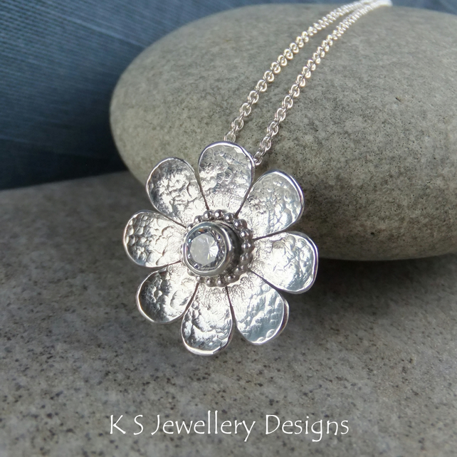Cubic Zirconia Dappled Textured Daisy Flower Sterling Silver Pendant - CZ