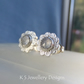 Rainbow Moonstone Textured Daisy Flowers Sterling Silver Studs Gemstone Earrings