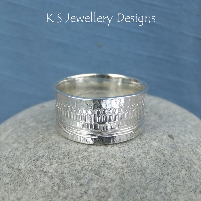 Shoreline Textured Sterling Silver Ring - Unisex Wide Band UK size J.5 US size 5