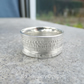 Shoreline Textured Sterling Silver Ring Unisex Wide Band UK size W US size 11.25