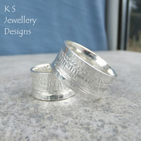 Shoreline Textured Sterling Silver Ring - Unisex Wide Band - MADE TO ORDER