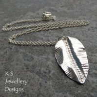 Textured Leaf Sterling Silver Pendant 1 - Organic Fold Formed Metalwork Necklace