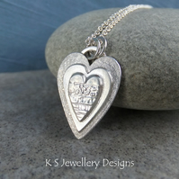 Layered Hearts V5 Sterling Silver Pendant - Hand Stamped Love Heart Metalwork