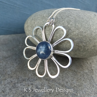 Kyanite Daisy - Sterling Silver Wire Flower Pendant - Gemstone Metalwork