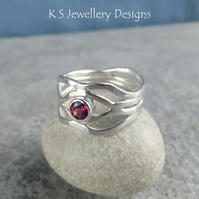 Rhodolite Garnet Freeform Sterling Silver Wavy Ring - UK size N - US size 6.75