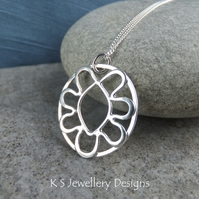 Wire Flower Doodle Sterling Silver Oval Pendant - Metalwork Wirework Necklace