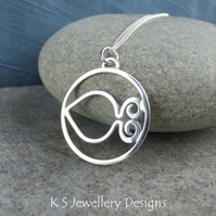 Little Fish Sterling Silver Circle Pendant - Pisces Fishes Zodiac Necklace