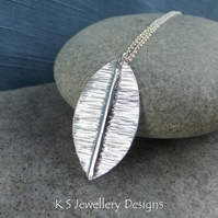 Textured Leaf Fine Silver Pendant V2 - Organic Fold Formed Metalwork Necklace