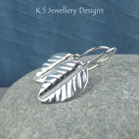 Vein Textured Leaf Fine Silver Earrings - Fold Formed Organic Leaves Jewellery