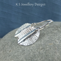 Textured Leaf Fine Silver Earrings - Fold Formed Organic Leaves Jewellery