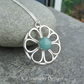 Amazonite Daisy Circle - Sterling Silver Wire Flower Pendant Gemstone Metalwork