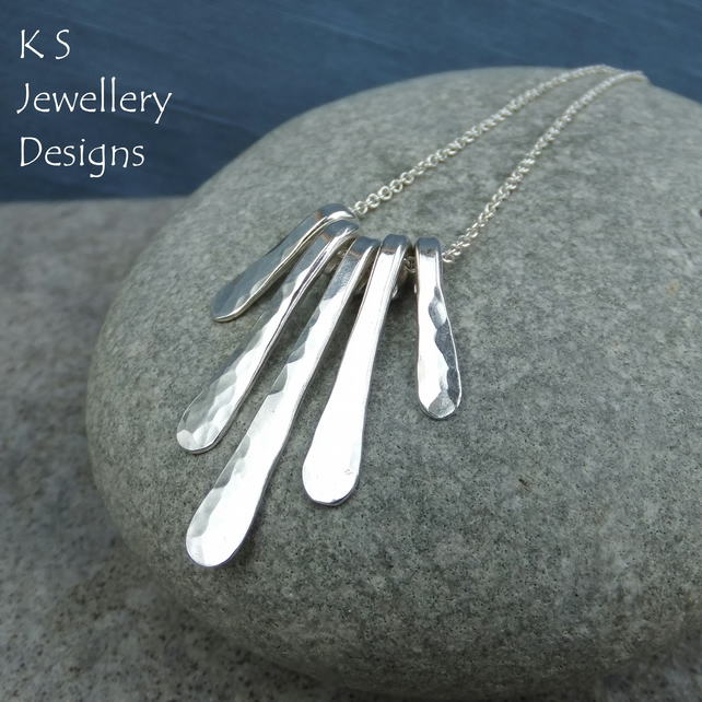 Dapple Textured Drops - Sterling Silver Necklace - Handmade Metalwork Jewellery