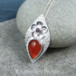 Carnelian & Garnet Flower Adorned Sterling Silver Textured Drop Gemstone Pendant