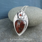 Crazy Lace Agate & Carnelian Flower Adorned Sterling Silver Drop Pendant