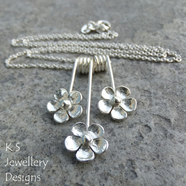 Five Petal Flower Trio Sterling Silver Necklace - Three Flowers Floral Jewellery