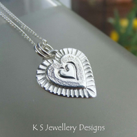 Layered Hearts V6 Sterling Silver Pendant - Hand Stamped Love Heart Metalwork