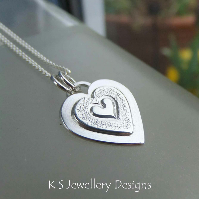 Layered Hearts V7 Sterling Silver Pendant - Hand Stamped Love Heart Metalwork