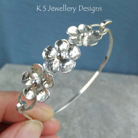 Five Petal Flower Trio Sterling Silver Bangle - Handmade Organic Metalwork
