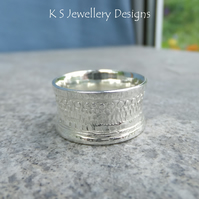 Shoreline Textured Sterling Silver Ring  Unisex Wide Band UK size N US size 6.75