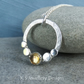 Citrine Pebble Adorned Sterling Silver Circle Pendant - Shiny Gemstone Necklace