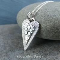 Layered Hearts V8 Sterling Silver Pendant - Hand Stamped Love Heart Metalwork